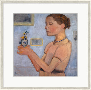 """Bild """"Junges Mädchen mit gelben Blumen"""" (1902), gerahmt"""