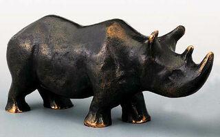 """Skulptur """"Nashorn-Mutter"""", Bronze"""