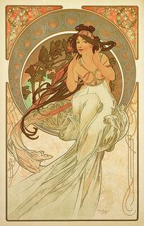 """Glasbild """"Die Musik"""" (1898)"""