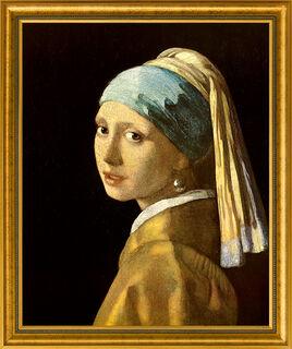 """Bild """"Das Mädchen mit dem Perlenohrring"""" (1665), gerahmt"""