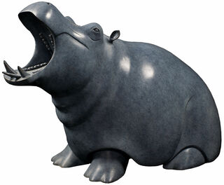 "Skulptur ""Nilpferd"", Bronze grau/schwarz"