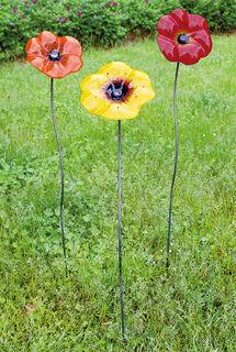 """Gartenstecker-Blumenset """"Blüten rot, gelb und orange"""", 3-teilig"""