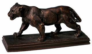 """Skulptur """"Schreitende Löwin"""" (1900), Metallguss"""