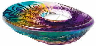 """Glas-Teelichthalter """"Pfau"""", Version lila/blau"""
