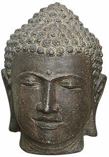"""Gartenobjekt """"Buddhakopf"""", Steinguss Antikfinish"""