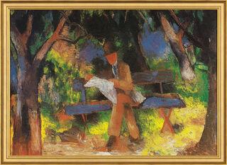 """Bild """"Lesender Mann"""" (1914), gerahmt"""