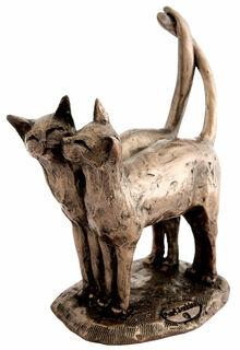 """Skulptur """"Katzenpaar"""", Kunstbronze"""