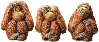 """3 Keramikfiguren """"Affengruppe Nicht sehen - Nicht hören - Nicht sprechen"""" im Set"""