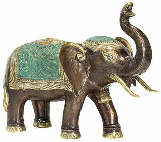 """Skulptur """"Elefant"""", Bronze handbemalt"""