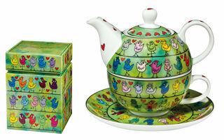 """Teekanne mit integrierter Tasse und Teedose """"Bird in Love"""", Porzellan"""