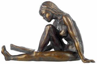 """Skulptur """"Die Lesende"""", Metallguss"""