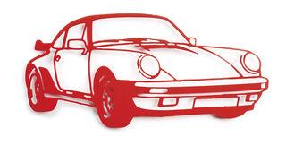 """Wandskulptur """"Porsche Turbo (Rot)"""" (2021) (Unikat), Stahlblech"""