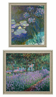 """2 Bilder """"Gelbe Seerosen und Agapanthus"""" + """"Irisbeet in Monets Garten"""" im Set"""