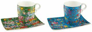 2 Kaffeetassen mit Künstlermotiven im Set, Porzellan
