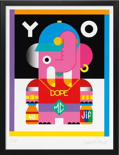 """Bild """"YO"""", Version schwarz gerahmt"""