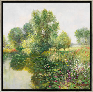 """Bild """"Der Garten von Giverny"""", Version silber gerahmt"""