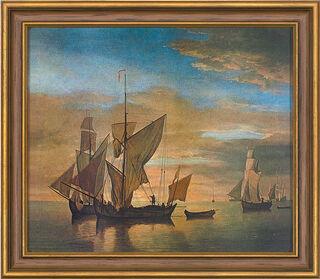 """Bild """"Schiffe auf ruhiger See im Abendlicht"""" (1685), gerahmt"""