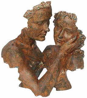 "Skulptur ""Beieinander"", Kunstguss Steinoptik"