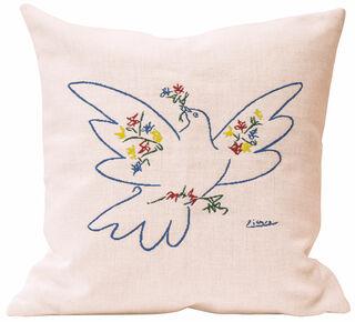"""Kissen """"Friedenstaube mit Blumen"""""""