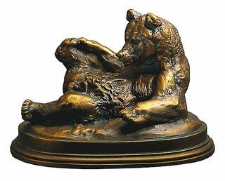 "Skulptur ""Bär, auf dem Rücken liegend"", Kunstbronze"