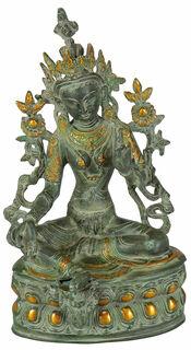 "Skulptur ""Schutzgöttin grüne Tara"", Messing Antikfinish"