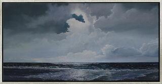 "Bild ""Abends an der Nordsee"" (Original / Unikat), gerahmt"