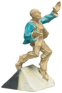 """Skulptur """"Geschafft!"""", Kunstguss Holzfinish"""