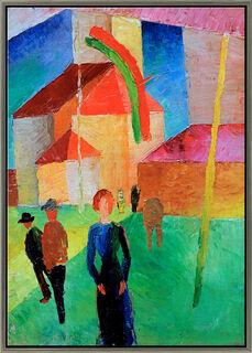 """Bild """"Beflaggte Kirche"""" (1914), gerahmt"""
