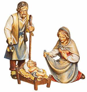 """Krippenfiguren """"Heilige Familie: Maria, Josef und das Christuskind"""", Holz handbemalt"""