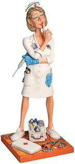 "Karikatur ""Die Krankenschwester"", Kunstguss handbemalt"