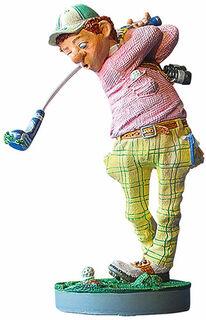 """Karikatur """"Golfer"""", Kunstguss"""