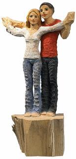 "Skulptur ""Liebespaar"", Kunstguss Holzfinish"