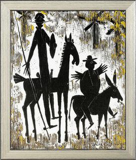 """Porzellanbild """"Don Quichotte und Sancho Pansa"""", gerahmt"""