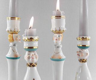 """Kerzenleuchter """"Kleiner König und Königin"""" im Set, Porzellan"""