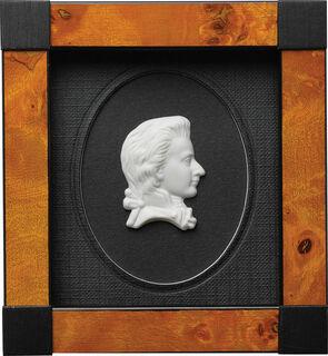 "Miniatur-Porzellanbild ""Wolfgang Amadeus Mozart"", gerahmt"