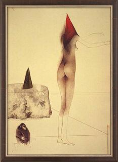 """Bild """"Das Spiel mit dem Affen"""" (1983), gerahmt"""