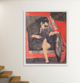 "Bild ""Woman leaving red car"" (2019)"