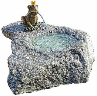 """Brunnenset """"Froschkönig Georg"""", Bronze auf Stein"""
