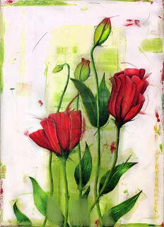 "Bild ""red happy flowers"" (2020) (Unikat)"