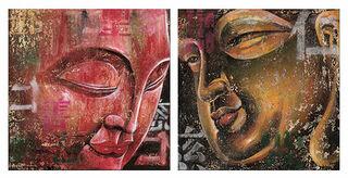 2 Buddha-Bilder im Set, auf Keilrahmen