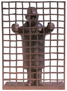 """Skulptur """"Mann mit Gitter"""", Kunst-/Metallguss"""