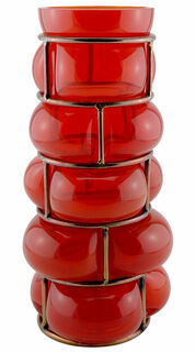 """Vase """"Brick Red"""", Glas/Metall"""