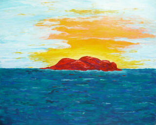 "Bild ""Red Rock"" (1991) (Original / Unikat), auf Keilrahmen"