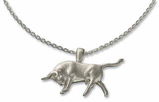 """Collier """"Angreifender Stier"""", Version Silber"""