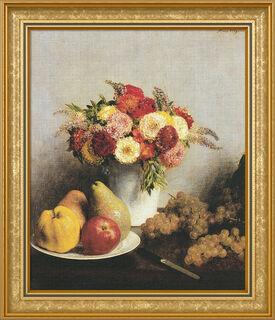 """Bild """"Fleurs et fruits - Blumen und Früchte"""" (1865), gerahmt"""