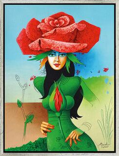 """Bild """"Im Schutz der roten Rose"""" (2020), gerahmt"""