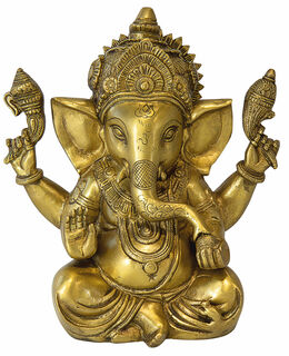 """Skulptur """"Indischer Gott Ganesha"""", Messing Antikfinish"""