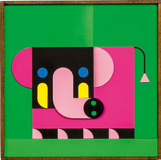 "Bild ""ELEFANT KIND pink/grün"" (2020)"