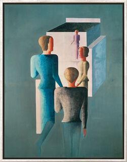 """Bild """"Vier Figuren und Kubus"""" (1928), gerahmt"""