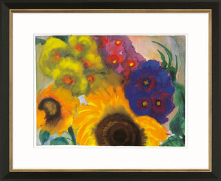 """Bild """"Sommerblumen"""", Version schwarz-goldfarben gerahmt"""